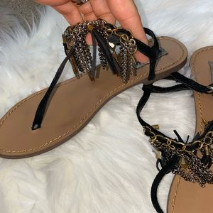 Fringe sandals black gold and silver size 7